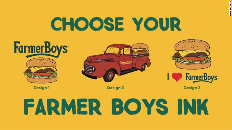 Farmer Boys is offering free burgers for a year to those who get one of these tattoos with the restaurant chain's name.