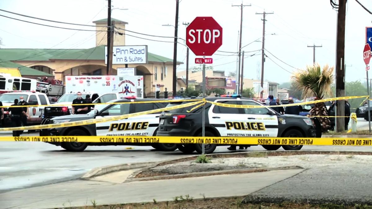 Scene of a shooting during a police traffic stop in San Antonio, Texas.