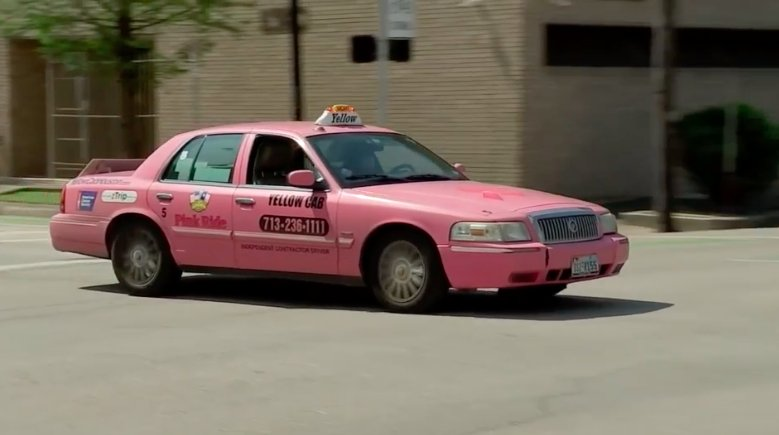 Houston resident Bobbie Tallent drives the only pink taxi in the city