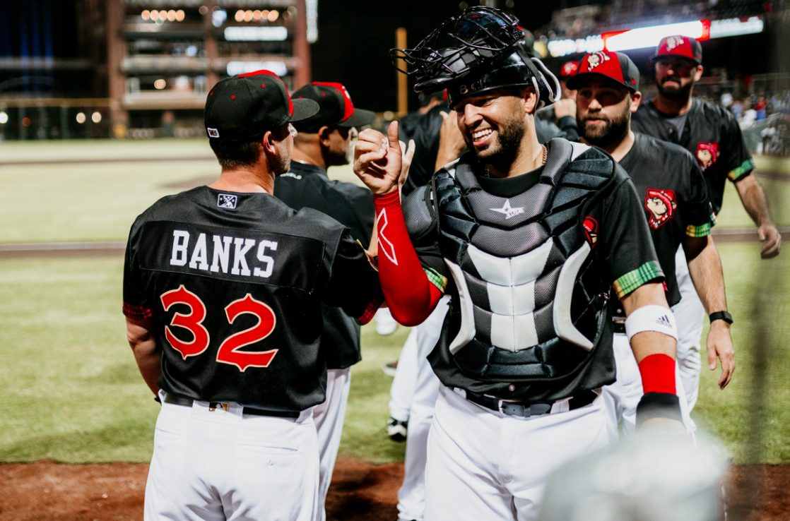 Chihuahuas celebrate after a win at Southwest University Park