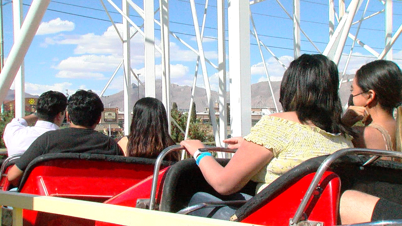 Enthusiasts ride a roller coaster at Western Playland.
