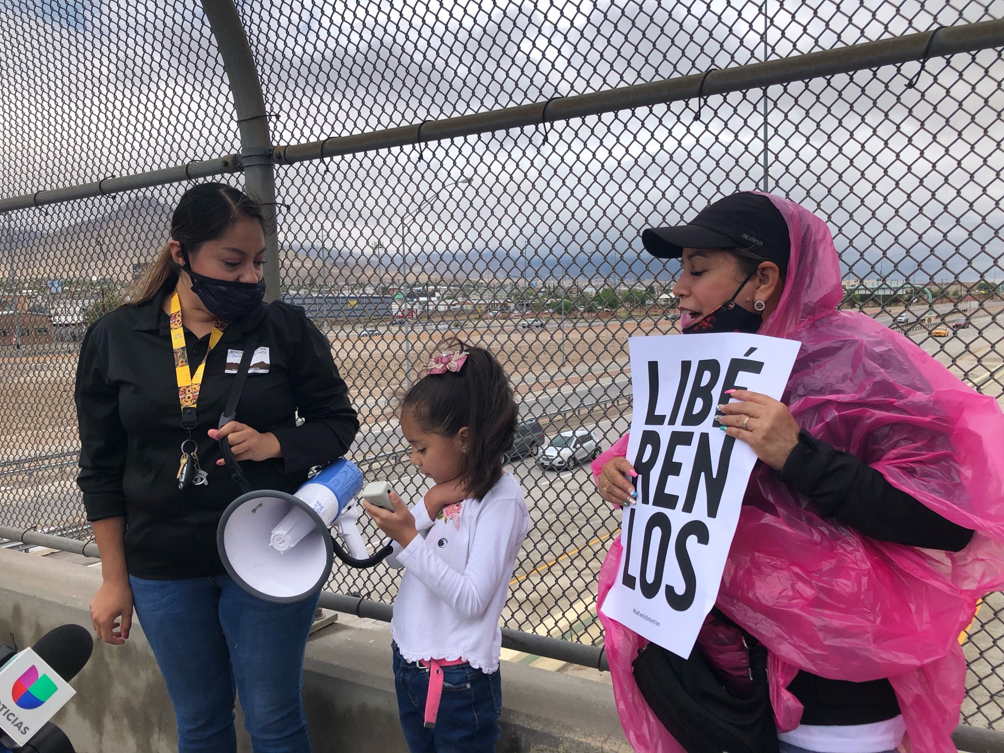 Protesters calling for the shut down of the Fort Bliss migrant kids shelter.