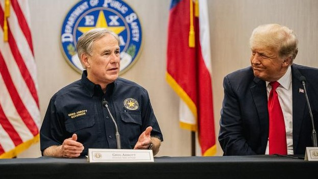 Gov. Greg Abbott, and former President Donald Trump attend a border security briefing over the summer in Weslaco, Texas.