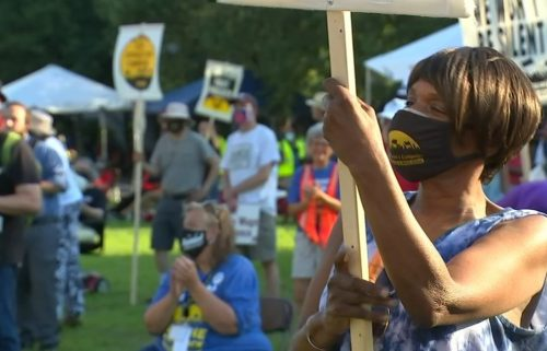 Dozens of low-wage tenants came out on JUne 21 to the Moral Monday rally on Halifax Mall as Raleigh