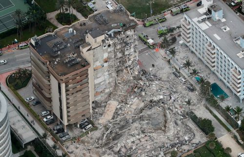 What remains of the 12-story oceanfront Champlain Towers South Condo in Surfside