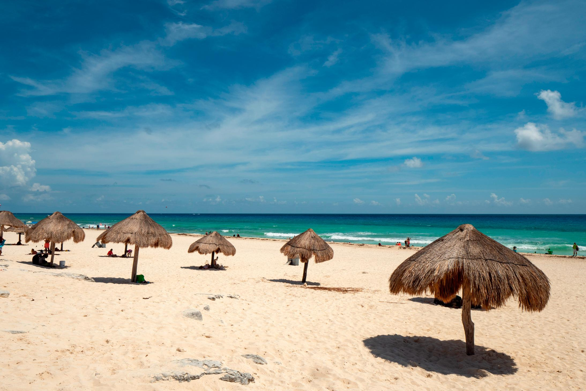 A sandy beach along the shores of Cancun, Mexico.