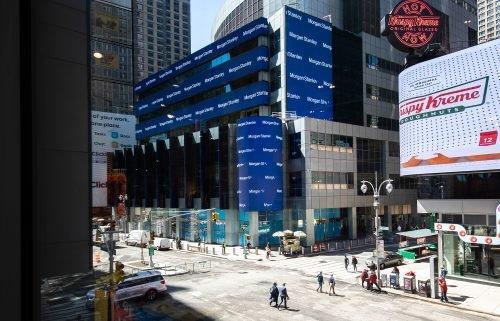 Pedestrians walk past Morgan Stanley headquarters in New York