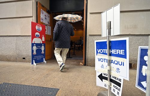 A voter arrives at a polling station set up at The Metropolitan Museum of Art on New York's primary election day on June 22.