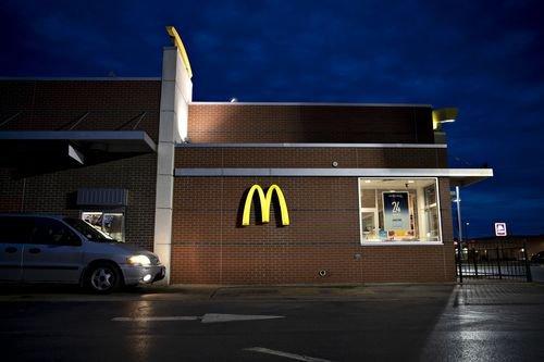 A McDonalds restaurant drive-thru.