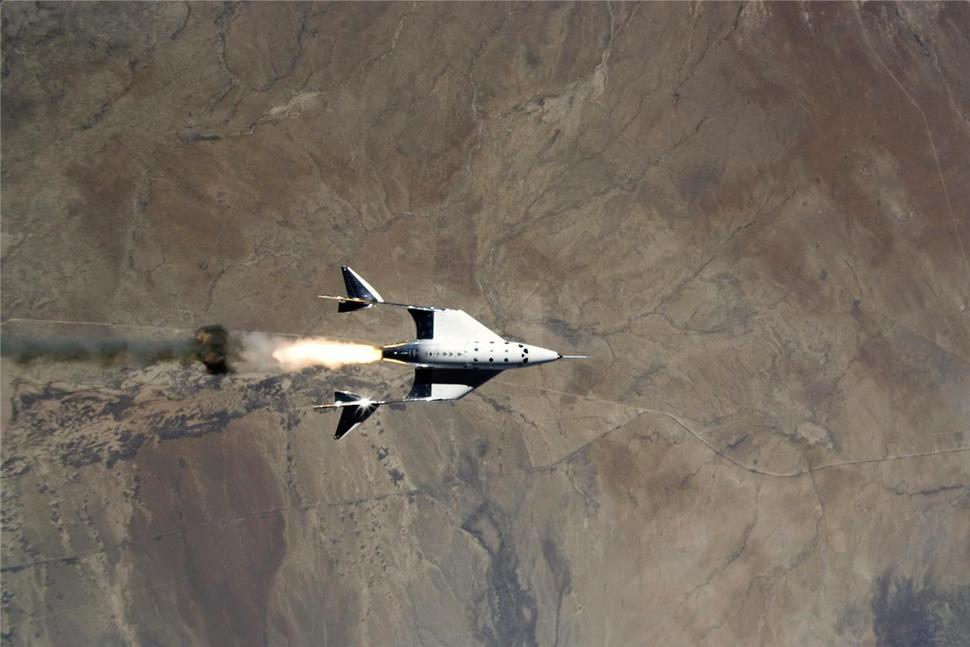 The release of VSS Unity from VMS Eve and ignition of rocket motor over Spaceport America, N.M. during a past test flight.