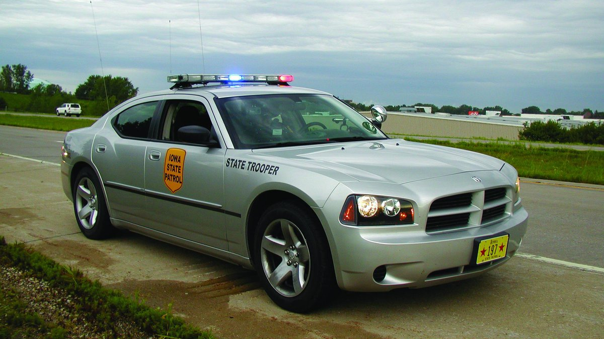 An Iowa state trooper  on patrol along Interstate 80 southwest of Des Moines.