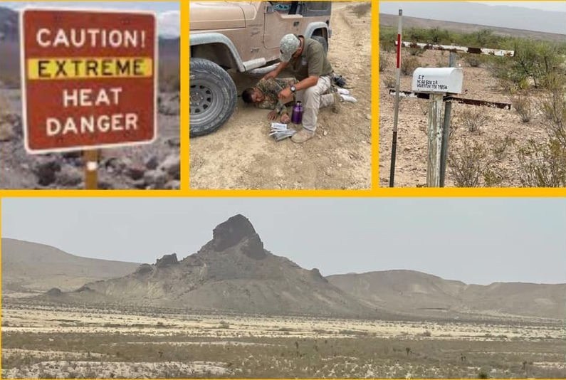 Images from the area where a migrant father (alive) and son (deceased) were found in the desert in Culberson County.