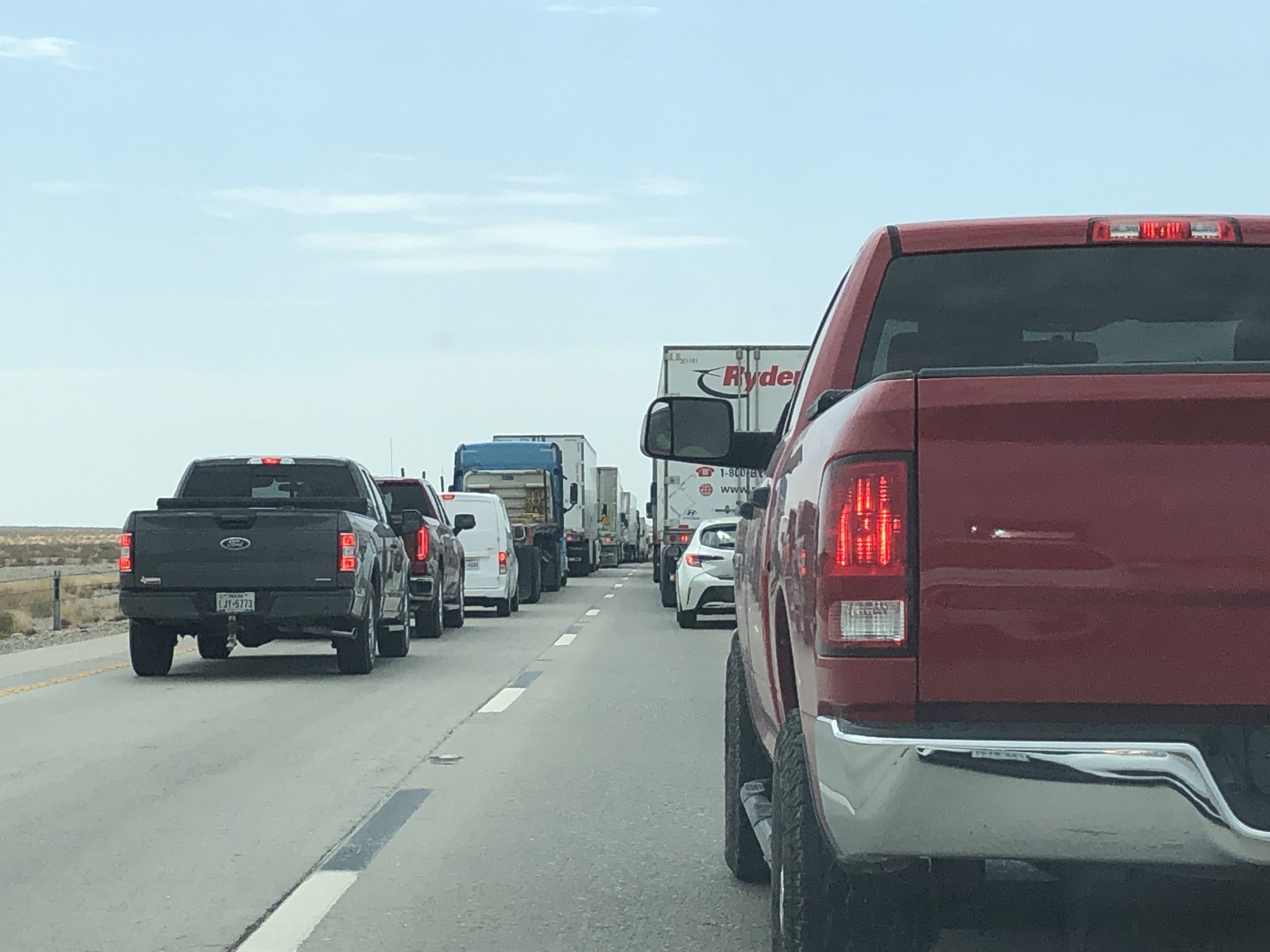 Traffic backed up along I-10 near Tornillo after two incidents involving trucks shut down the highway.