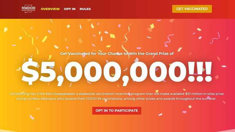 Screenshot shows New Mexico's vaccination lottery website touting a $5M grand prize.