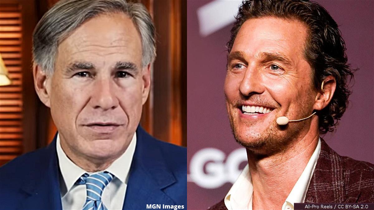 Texas Gov. Greg Abbott and actor Matthew McConaughey.