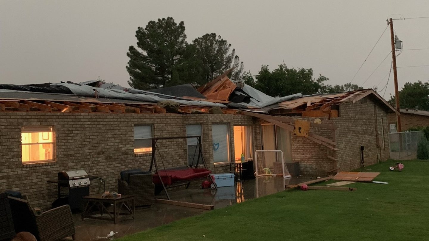 A house in Las Cruces that had its roof blown off by high winds during a storm.