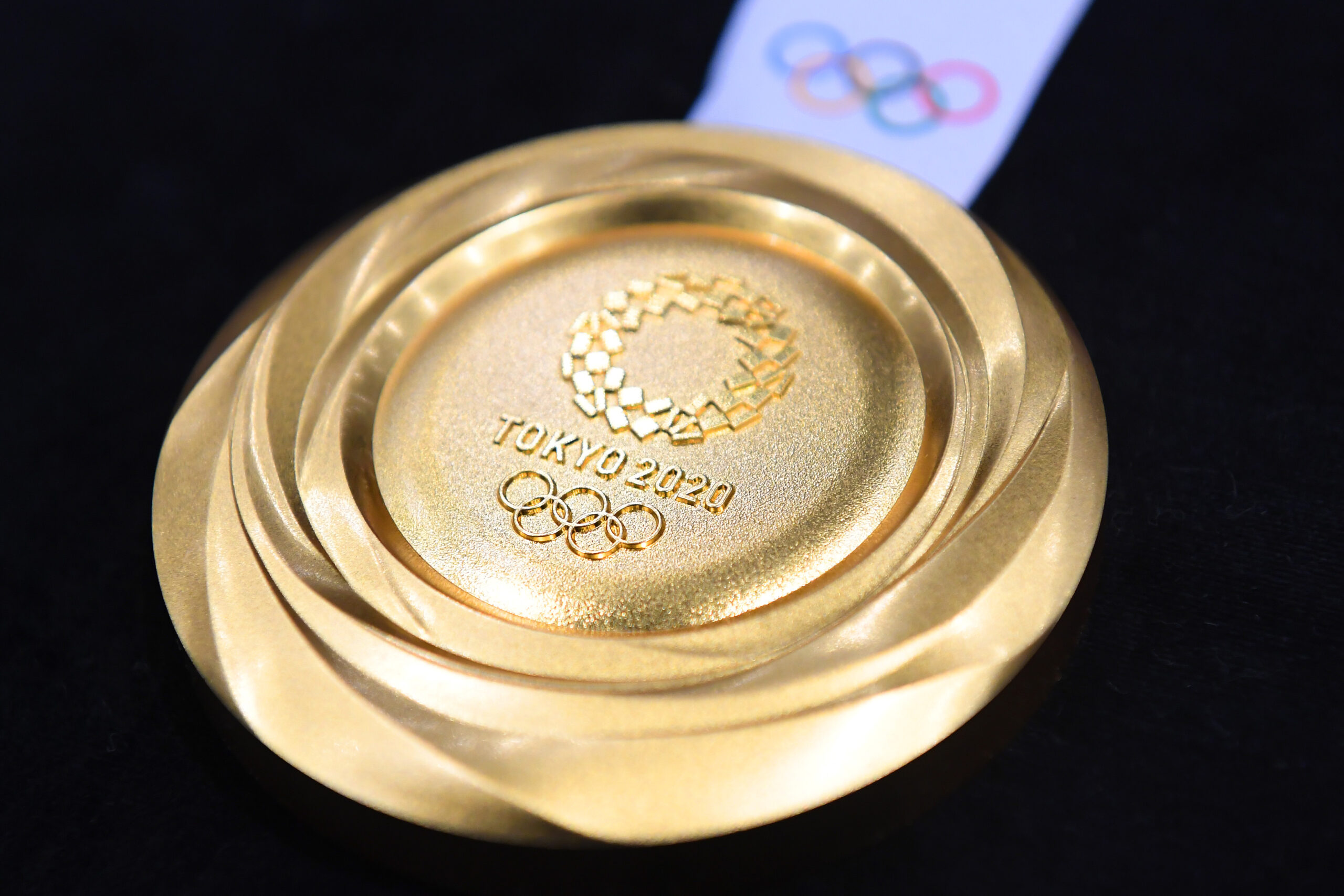 A gold medal is displayed at the Tokyo Olympics.  (Photo by Atsushi Tomura/Getty Images)
