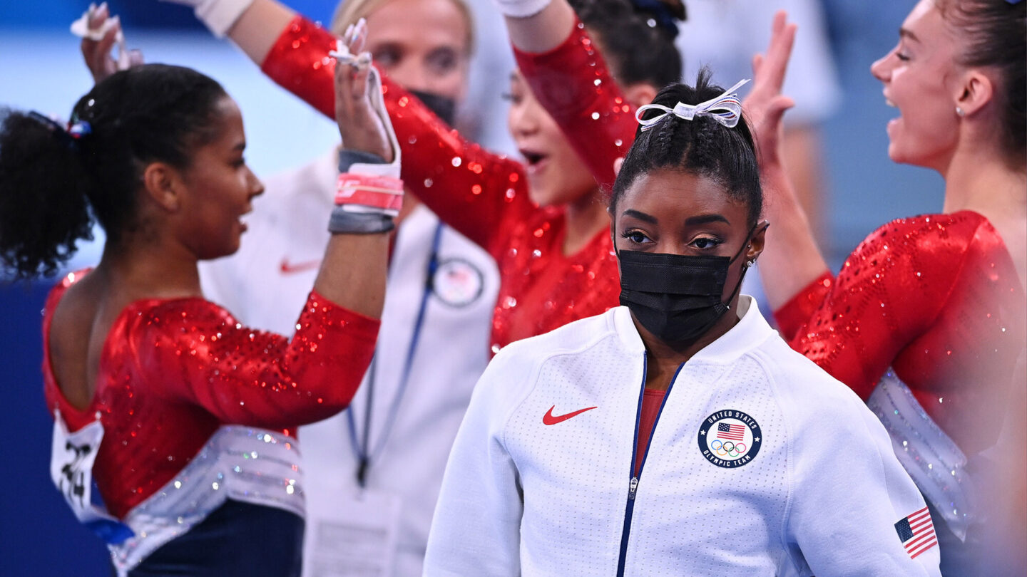 <i>Dylan Martinez/Reuters</i><br/>The US women's gymnastics team competed in the team final July 27.
