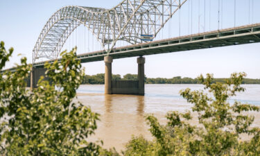 The Hernando DeSoto Bridge over the Mississippi River on the Tennessee-Arkansas line is seen May 14