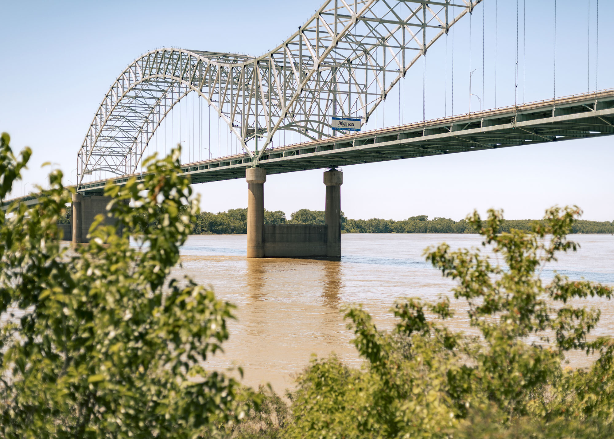 <i>Houston Cofield/Bloomberg/Getty Images</i><br/>The Hernando DeSoto Bridge over the Mississippi River on the Tennessee-Arkansas line is seen May 14