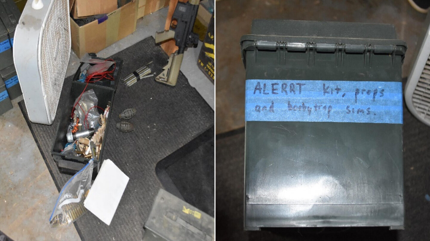 <i>Department of Justice</i><br/>Items found by federal authorities in the home of Thomas Robertson are seen
