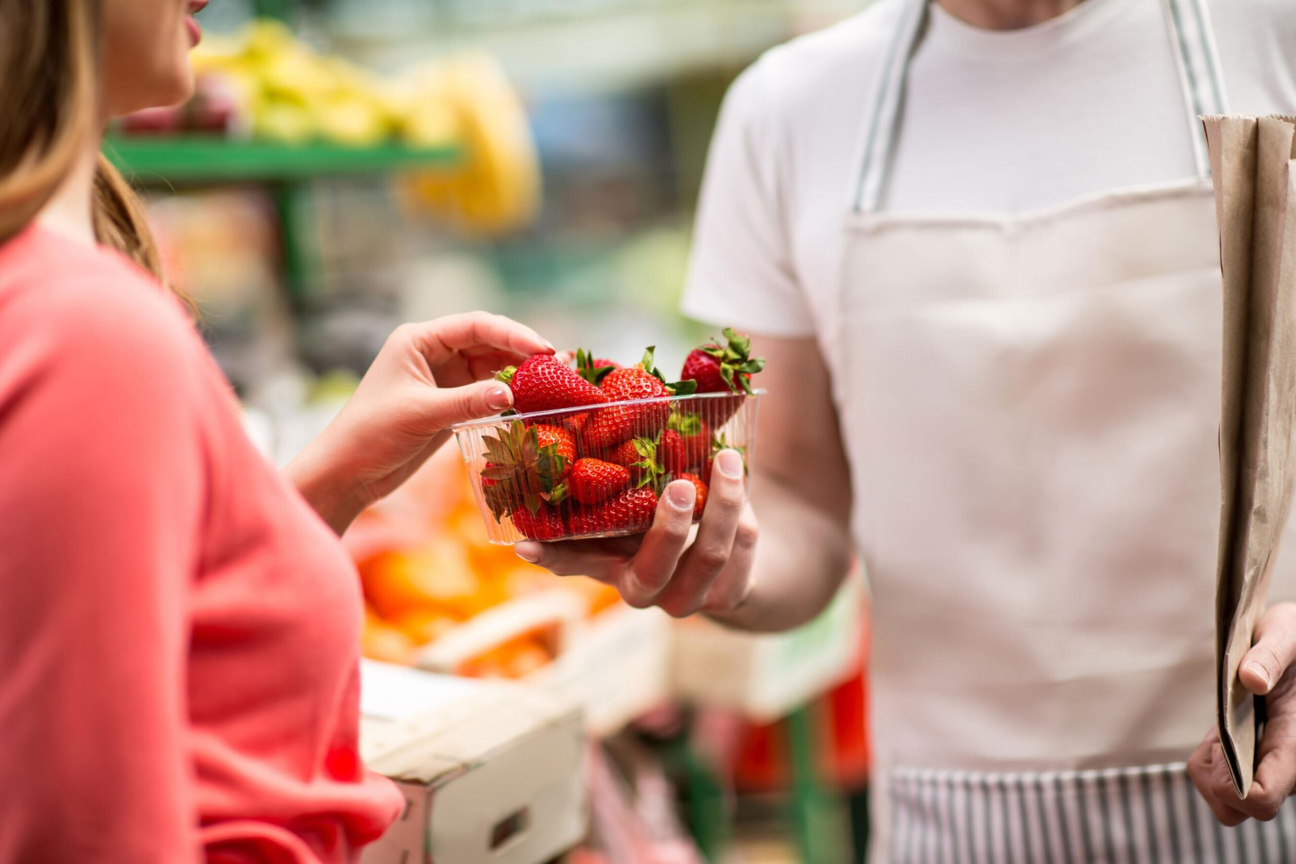 <i>Shutterstock</i><br/>Eating a plate full of colorful foods like strawberries and peppers