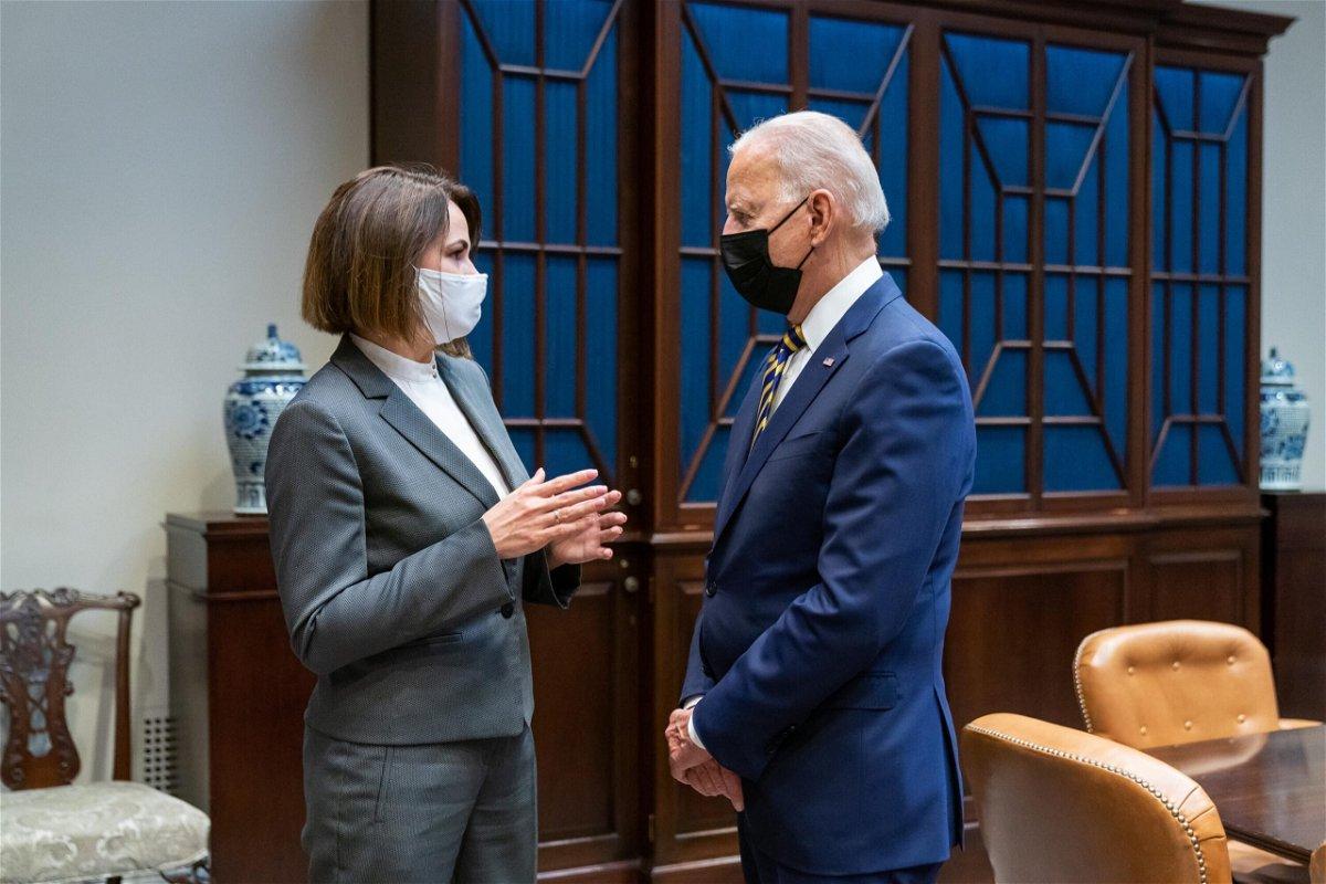 <i>The White House</i><br/>President Joe Biden met with Belarusian opposition leader Svetlana Tikhanovskaya Wednesday.