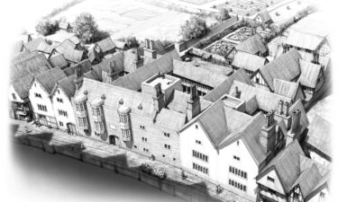 An artist's impression of the 16th-century London mansion where King Henry VIII's chief minister Thomas Cromwell lived.