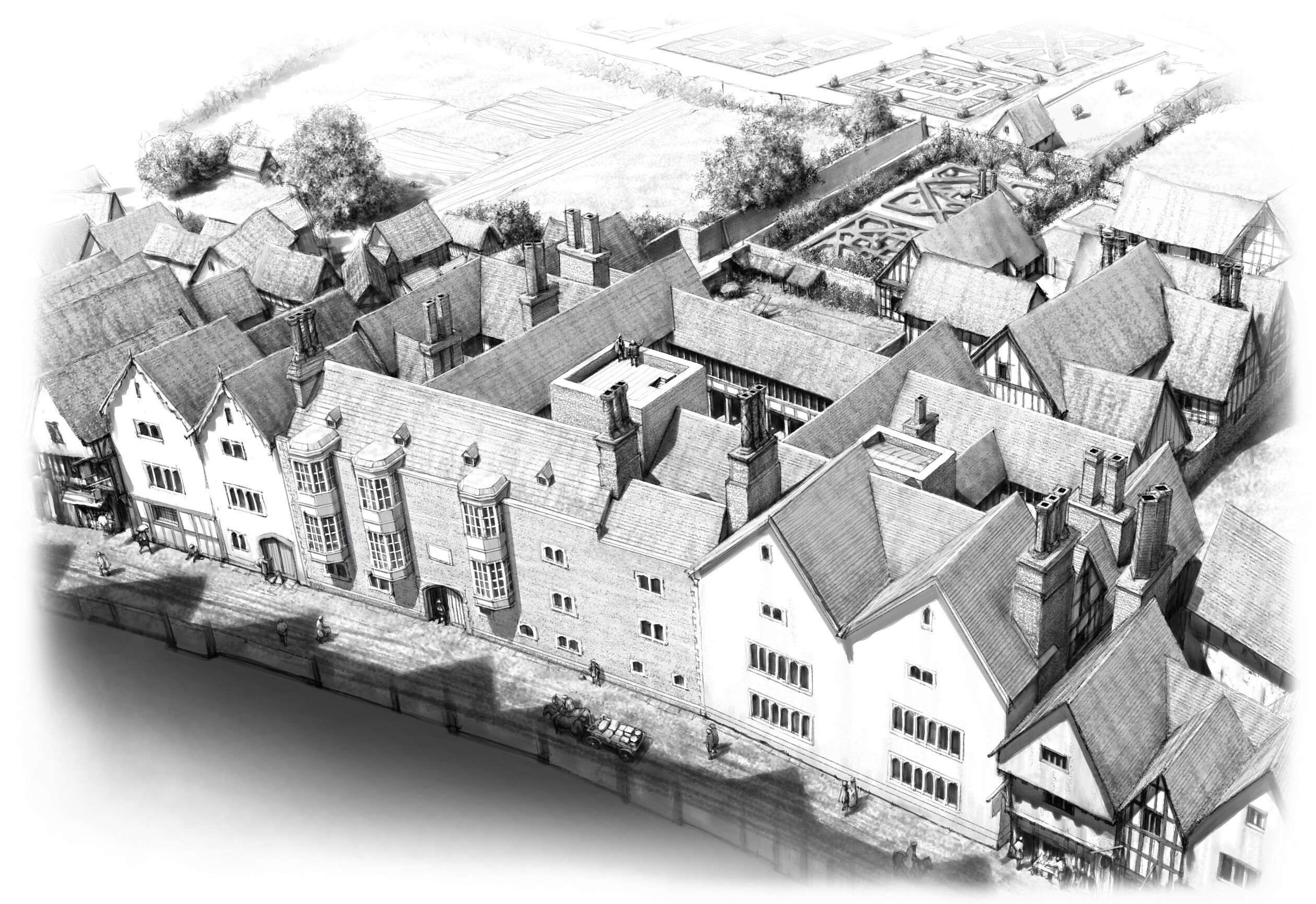 <i>Courtesy Peter Urmston/Nick Holder</i><br/>An artist's impression of the 16th-century London mansion where King Henry VIII's chief minister Thomas Cromwell lived.