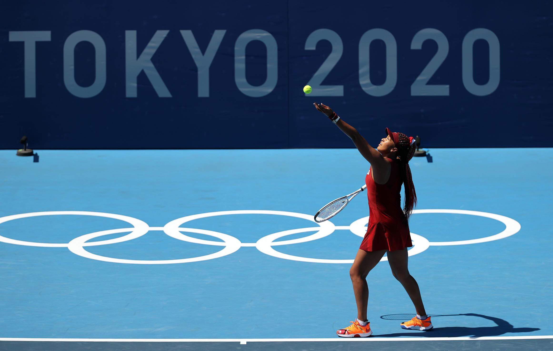 <i>Clive Brunskill/Getty Images AsiaPac/Getty Images</i><br/>Naomi Osaka put in an impressive serving performance against China's Saisai Zheng.