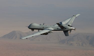 An MQ-9 Reaper drone flies a combat mission over southern Afghanistan. As President Joe Biden's withdrawal from Afghanistan nears completion