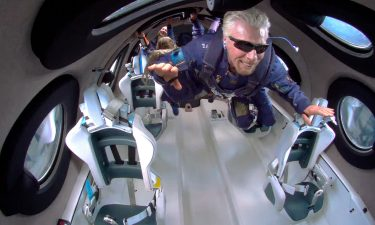 Richard Branson and crew aboard the VSS Unity on July 11.