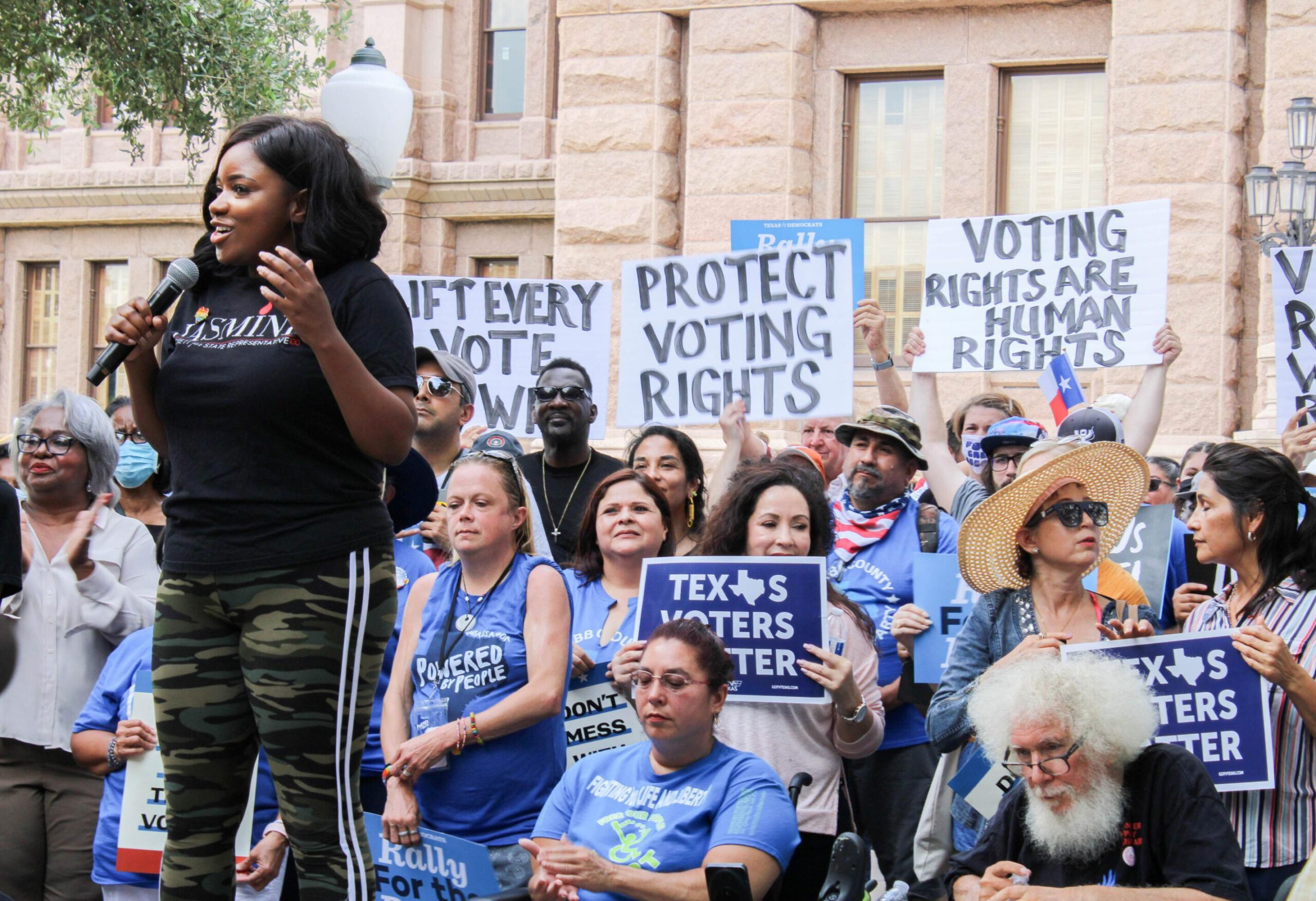 <i>Carlos Kosienski/Sipa</i><br/>Rep. Jasmine Crockett addresses the crowd at the For The People Rally in front of the Texas Capitol building in Austin