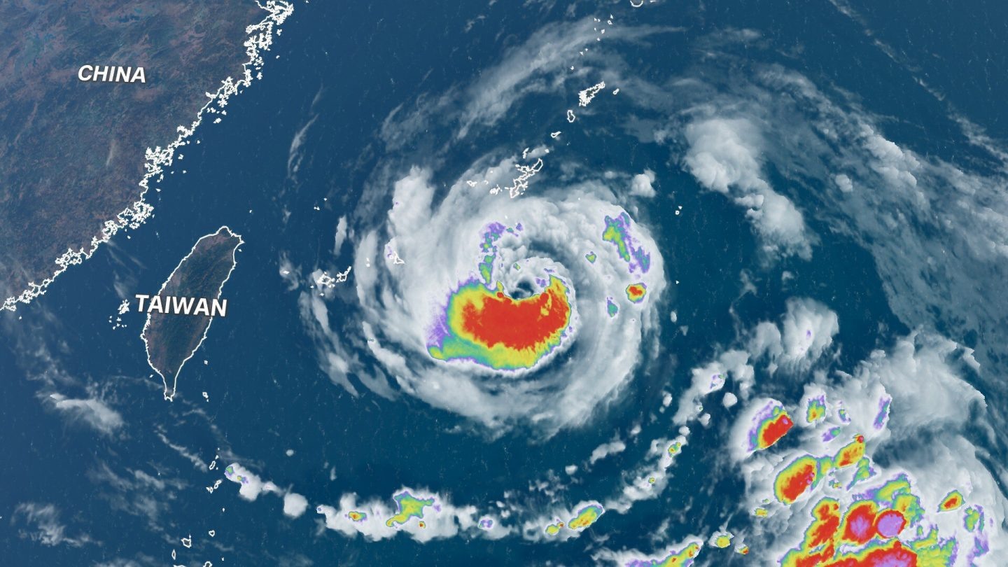 <i>CNN Weather</i><br/>A satellite view shows Typhoon In-fa over the northwest Pacific Ocean on July 20.