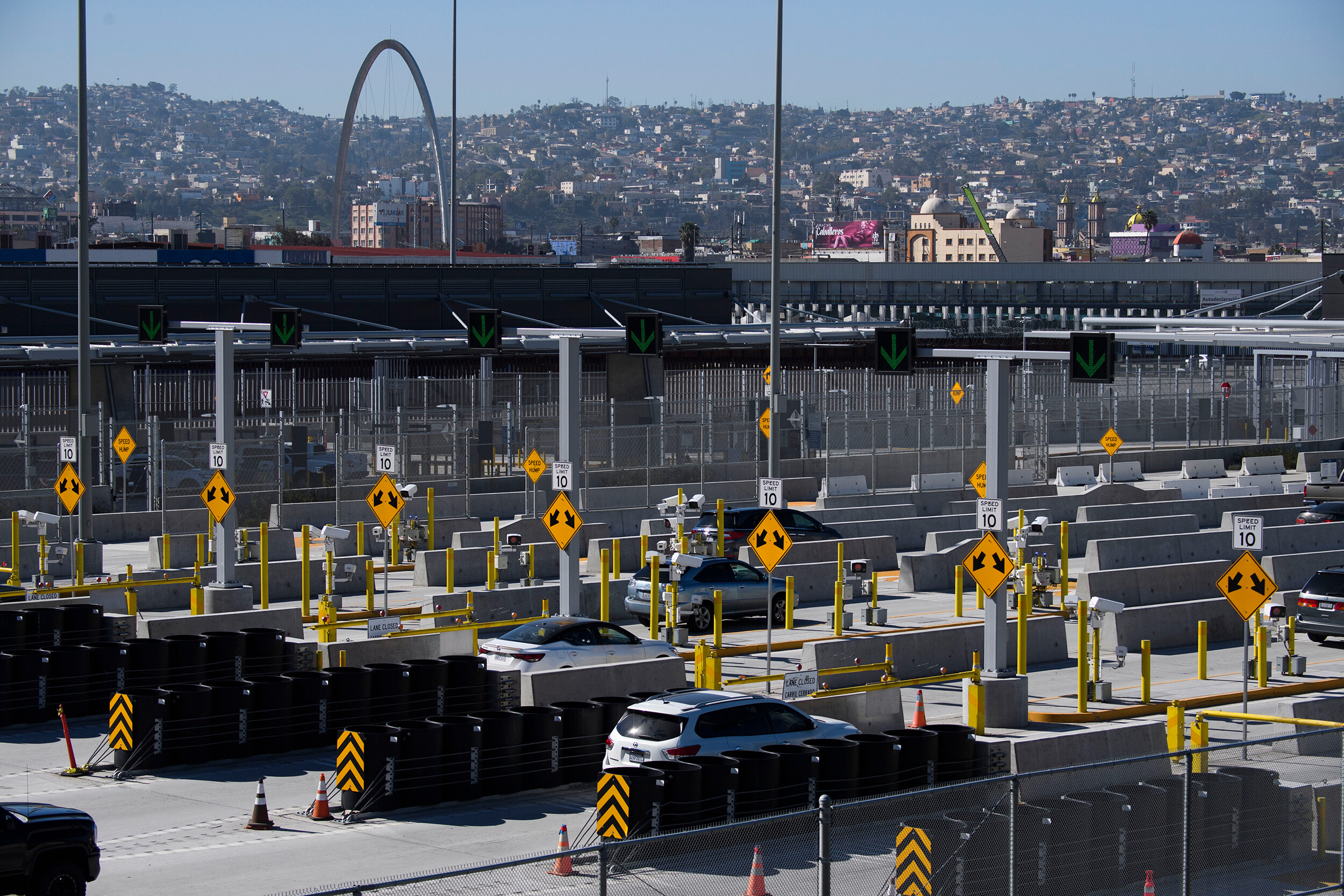 <i>Patrick T. Fallon/AFP/Getty Images</i><br/>Vehicles enter a checkpoint as they approach the Mexico border at the US Customs and Border Protection San Ysidro Port of Entry at the US- Mexico border in San Diego.