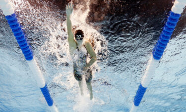 Ledecky competes in the 400m freestyle heats at the US Olympic trials.