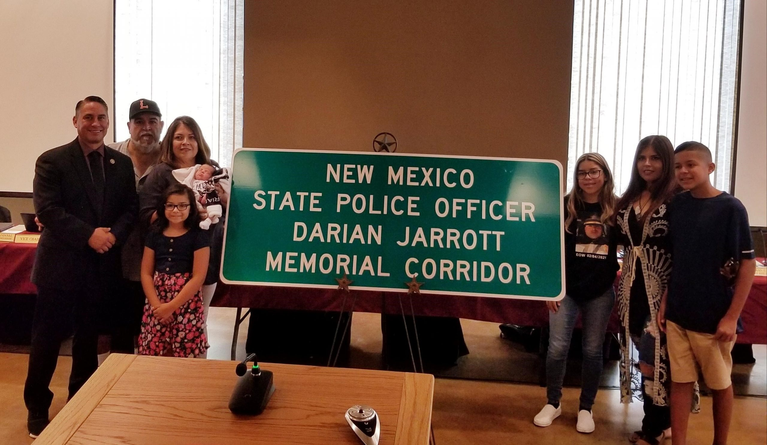 A I-10 memorial sign for Officer Darian Jarrott is displayed after a meeting of the  State Transportation Commission.