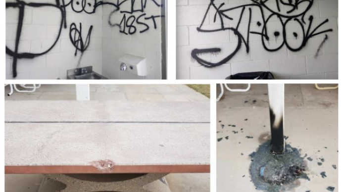 Examples of recent park vandalism taking place in Alamogordo parks.