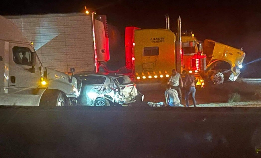 Some of the vehicles involved in a storm-related pileup along I-10 near Lordsburg, New Mexico.