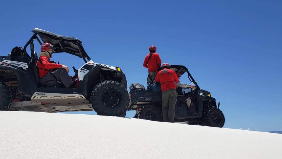 Mesilla Valley Search and Rescue crews look for a missing hiker at White Sands.