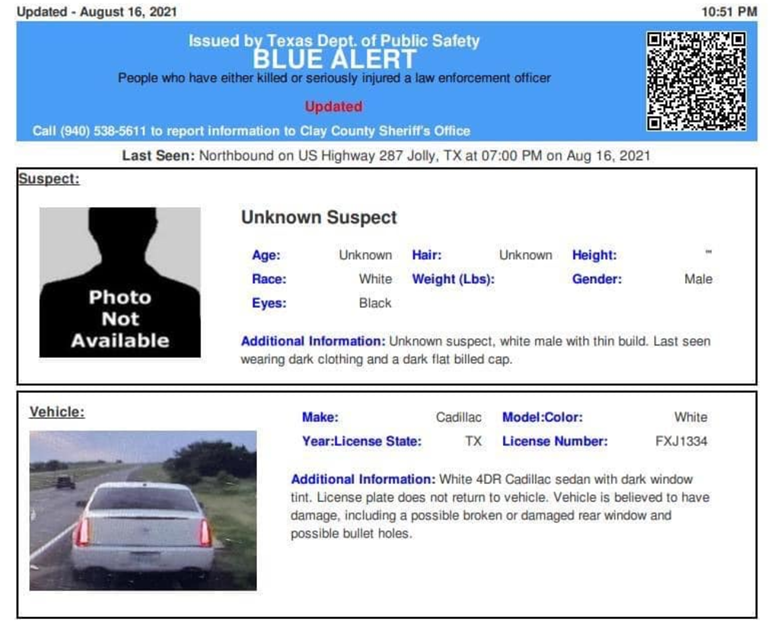 Details of man and car sought in a Blue Alert.