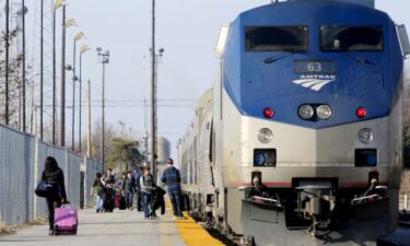 Passengers board the Amtrak train in Carbondale in 2017.
