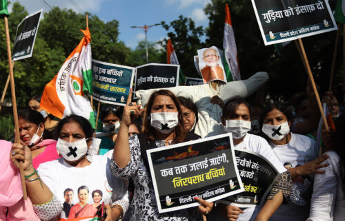 Protesters at a demonstration in Delhi