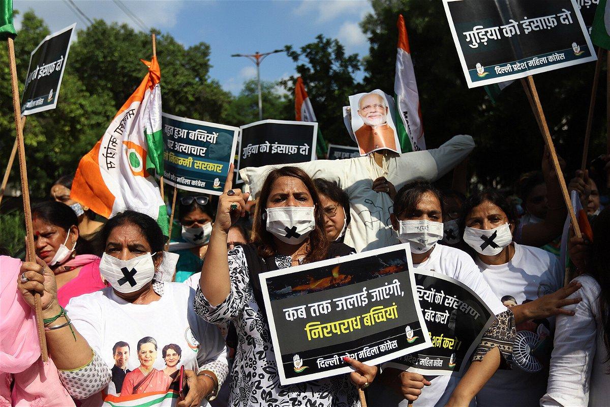 <i>Amarjeet Kumar Singh/SOPA Images/Getty Images</i><br/>Protesters at a demonstration in Delhi