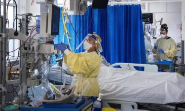 Nurses care for Covid-19 patients in the Intensive Care Unit in St George's Hospital in Tooting