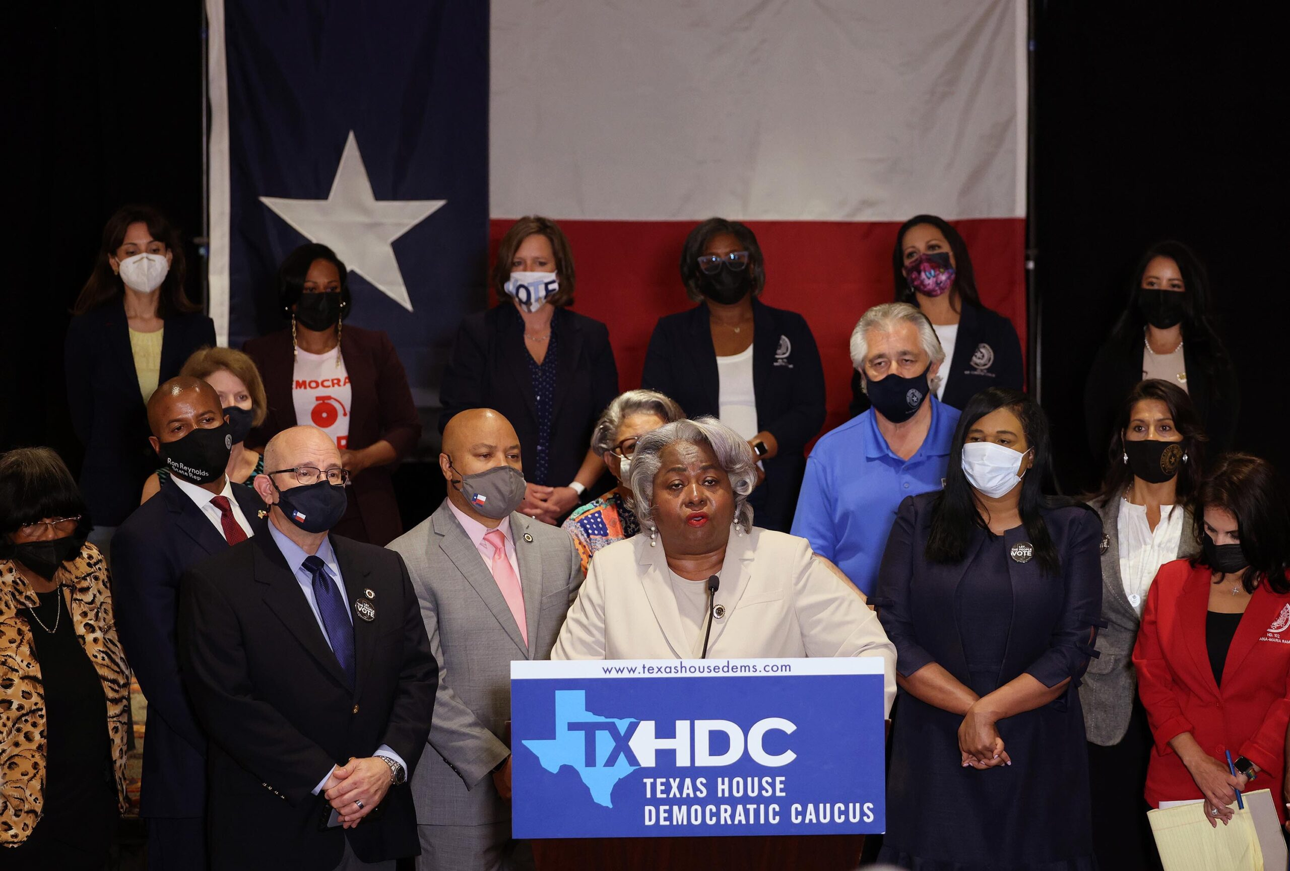 <i>Kevin Dietsch/Getty Images</i><br/>Texas House Democrats at a news conference.