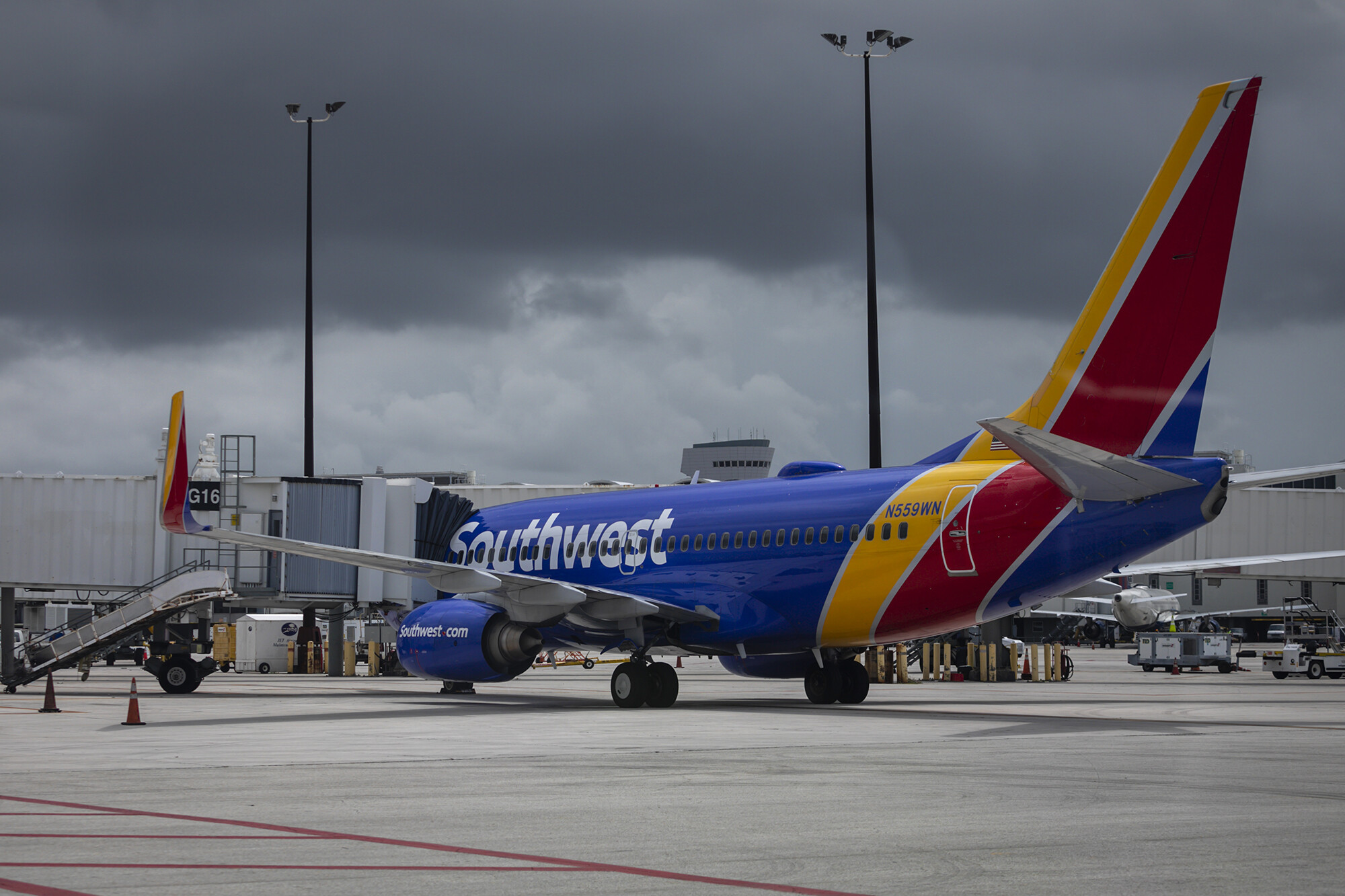 <i>Eva Marie Uzcategui/Bloomberg/Getty Images</i><br/>A Southwest Airlines plane on the tarmac at the Miami Airport in Florida.