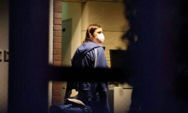 Timanovskaya enters the Polish embassy in Tokyo on August 2.