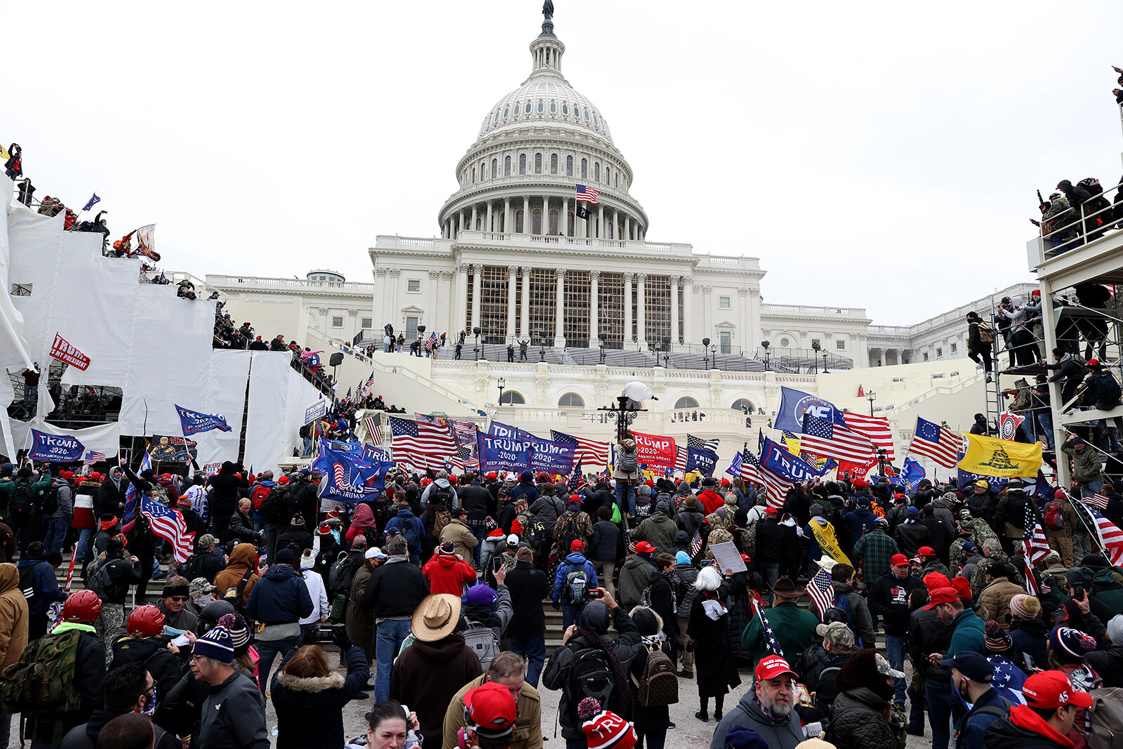 <i>Tasos Katopodis/Getty Images</i><br> Pro-Trump protesters here stormed the U.S. Capitol on January 6