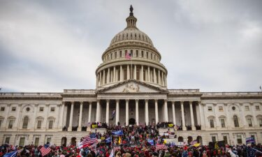 A large group of rioters stand on the East steps of the Capitol Building after storming its grounds on January 6